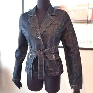 Baccini Dark Blue Denim Belted Jean Jacket
